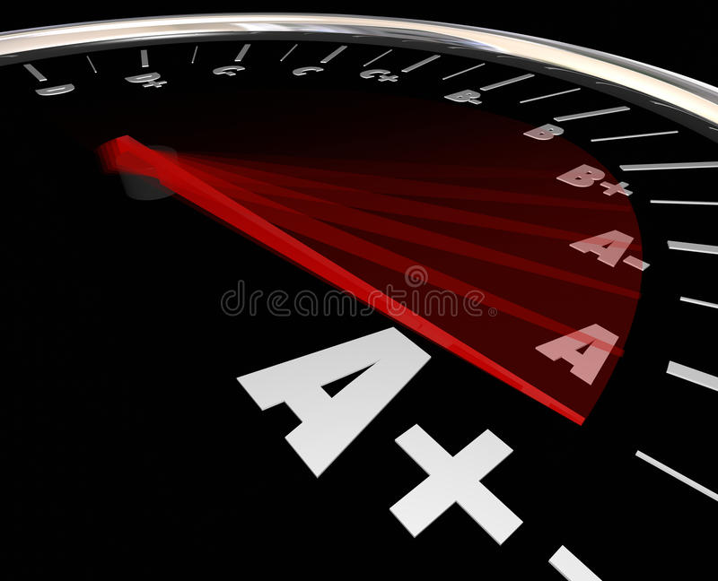 A Plus Grade Score Speedometer Rising Increase Improve Performance. A Plus letter grade on speedometer racing to show increase or improvement in performance vector illustration