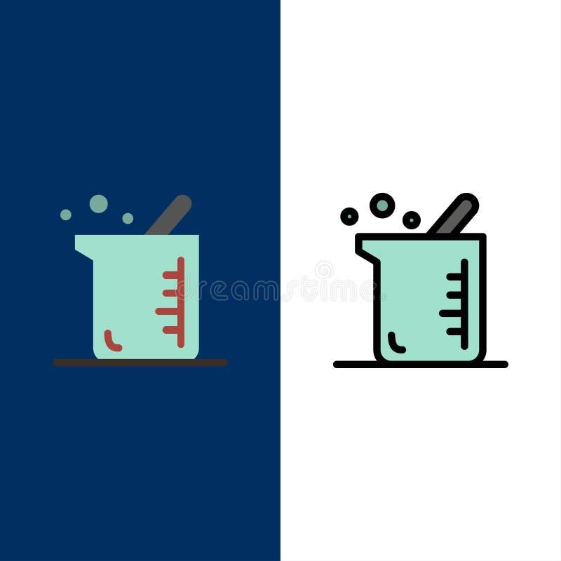 Plus grand, biochimie, biologie, icônes de chimie L'appartement et la ligne icône remplie ont placé le fond bleu de vecteur illustration libre de droits