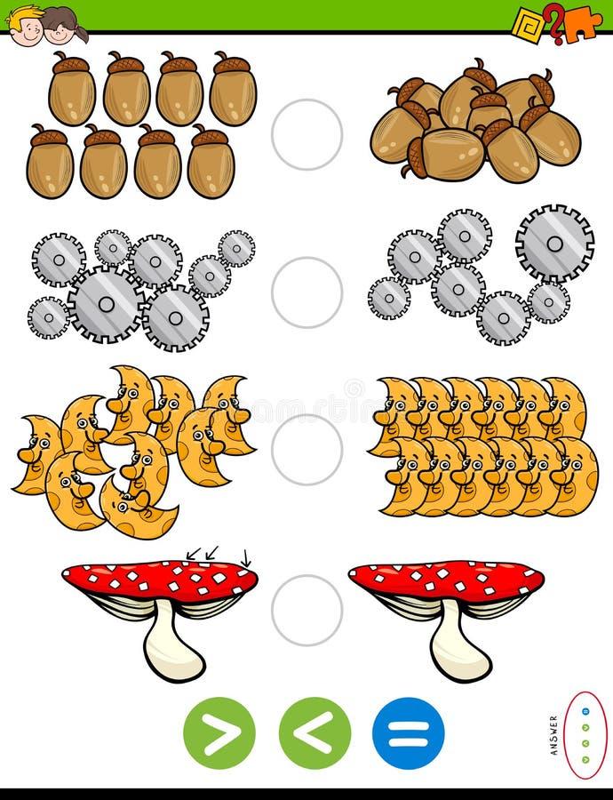 Plus grand moins ou puzzle éducatif égal illustration de vecteur