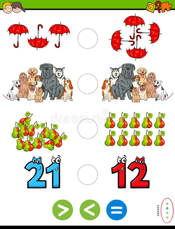 Plus grand moins ou puzzle éducatif égal pour des enfants illustration libre de droits