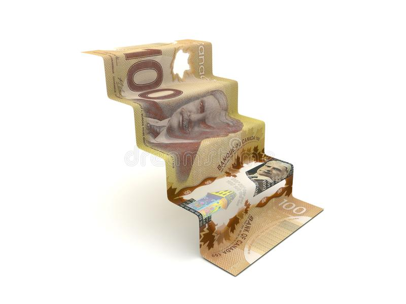 Plus haut avec des étapes du dollar canadien illustration stock