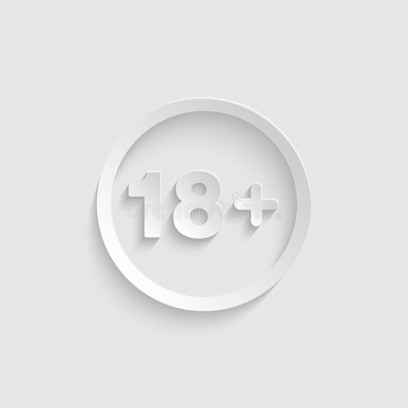 18 plus ikona w papieru stylu 3d odizolowywającym na tło wektorze royalty ilustracja