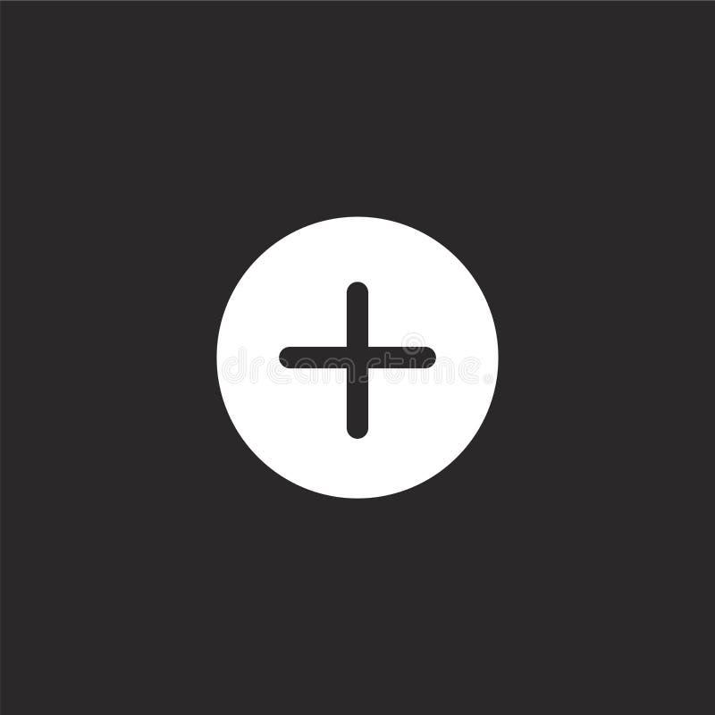 Plus ikona Wypełniający plus ikona dla strony internetowej wiszącej ozdoby i projekta, app rozwój plus ikona od wypełniającej ist ilustracja wektor
