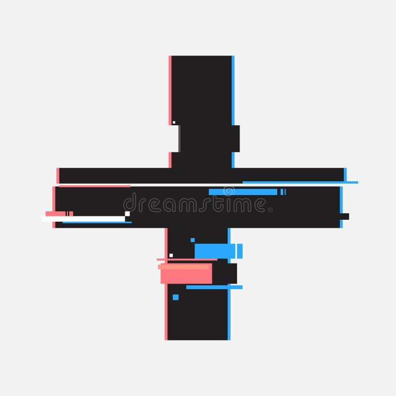 Plus knopen in glitch stijl Abstract minimaal malplaatjeontwerp voor het brandmerken Moderne achtergronddekkingsaffiches, banners stock illustratie