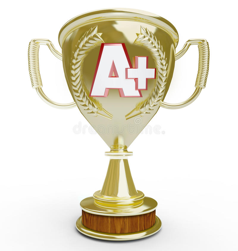 A+ A Plus Letter Grade on Gold Trophy First Place Score. An A Plus letter grade on a golden trophy award given to the top score or first place student or vector illustration
