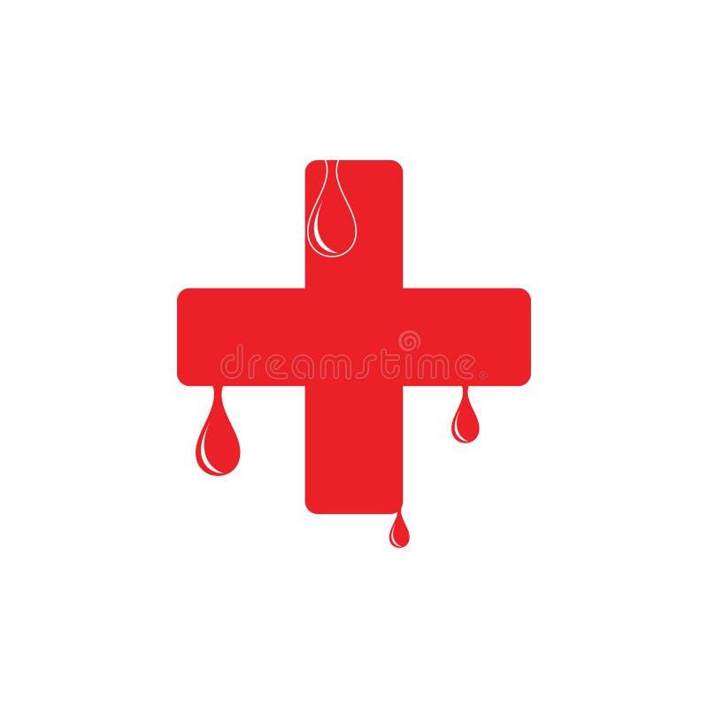 Plus medische de decoratievector van het bloedgeversymbool vector illustratie