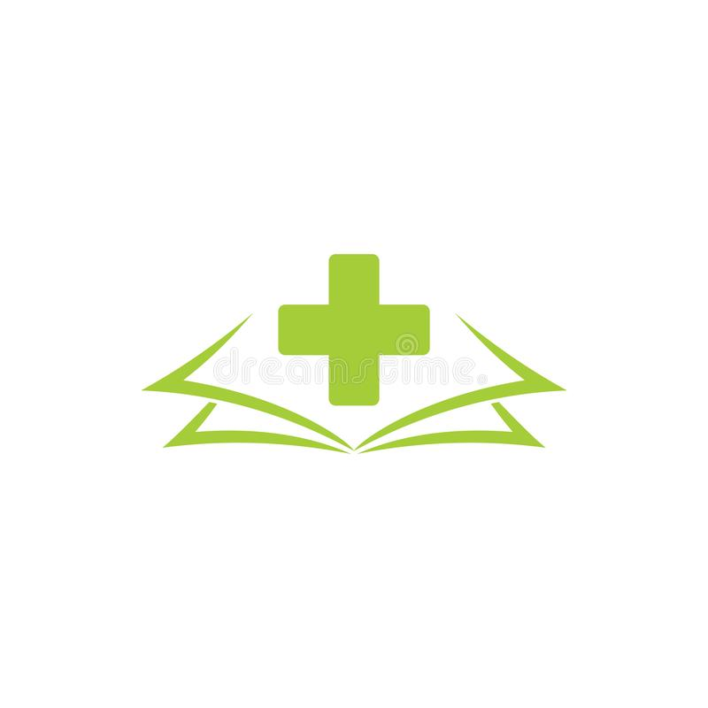 Plus medische het embleemvector van het boekonderwijs stock illustratie