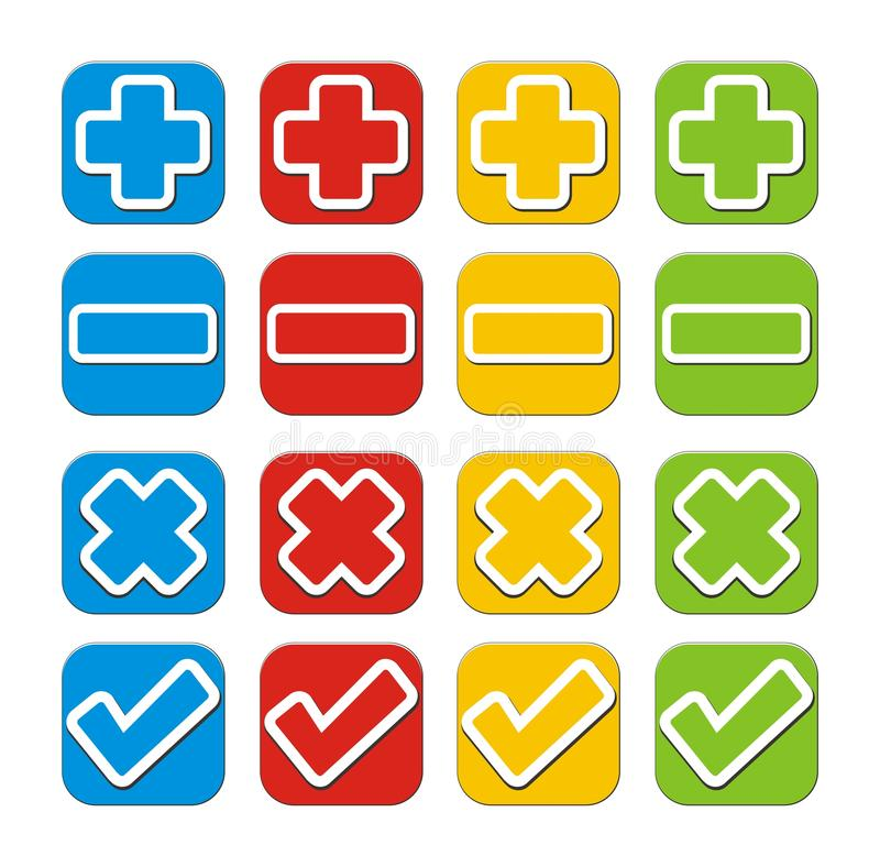 Download Plus, Minus, Check, Cross Button Sets Stock Image - Image: 34388255