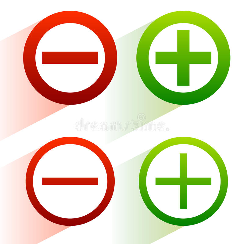 Plus, minus signs. Addition, subtraction icons, symbols with diagonal shadow vector illustration