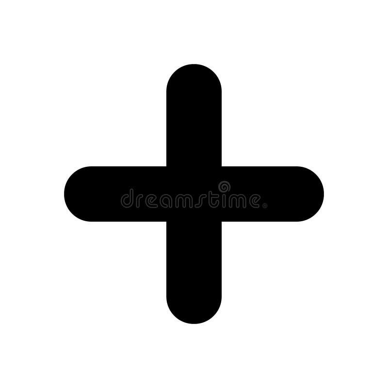 Plus noir Symbole positif d'isolement sur le fond blanc illustration stock