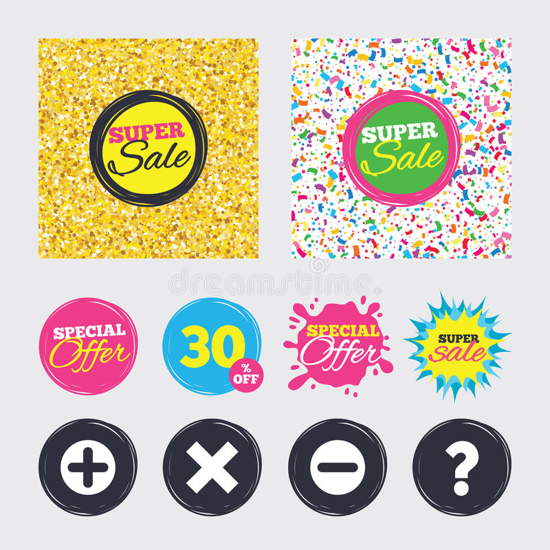 Plus och negativ symboler FrågeFAQ-symbol vektor illustrationer