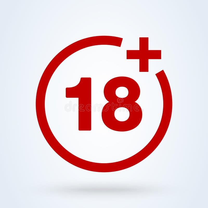 18 plus pictogram in in vlakke die stijl op achtergrond wordt geïsoleerd 18 puls vectorrood vector illustratie
