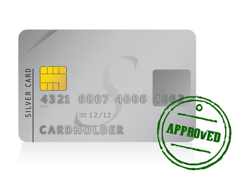 Plus pieczątka zatwierdzona kredytowa karta ilustracja wektor
