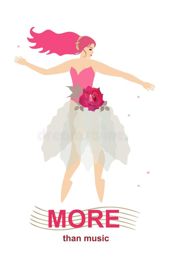 Plus que la musique Bannière verticale avec la jeune ballerine avec la danse rose rouge sur les règles musicales stylisées d'isol illustration de vecteur