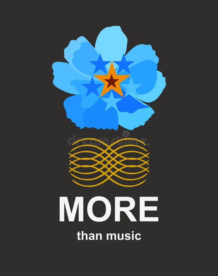 Plus que la musique Calibre pour la bannière avec la fleur bleue et le modèle d'or abstrait d'isolement sur le fond noir dans le  illustration stock