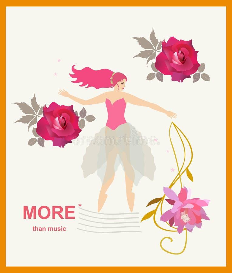 Plus que la musique Danse de jeune fille sur le personnel musical stylisé, clef triple dans la forme de la fleur et belles roses  illustration stock