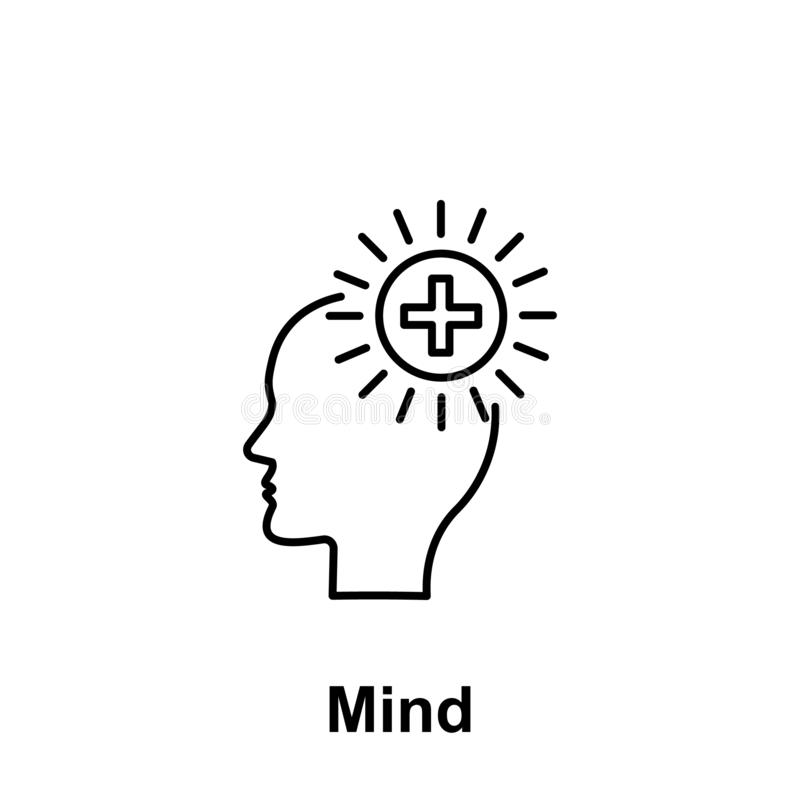 Plus, santé, icône de cerveau Élément du nom créatif de witn d'icône de thinkin Ligne mince icône pour la conception de site Web  illustration libre de droits