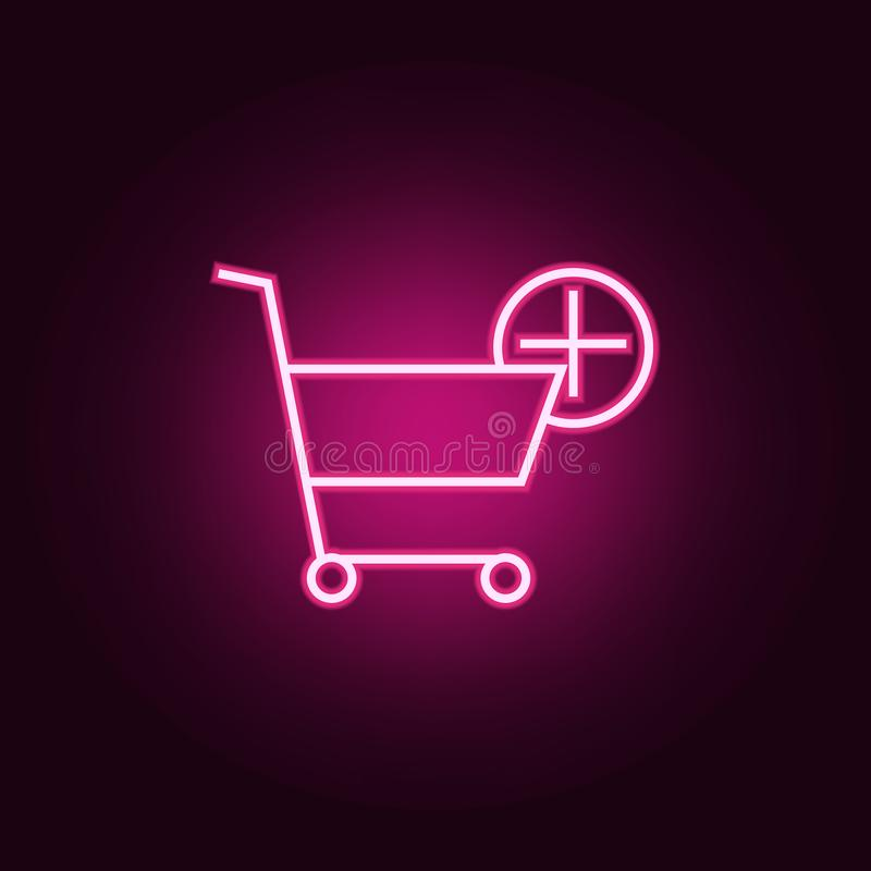 plus a shopping cart icon. Elements of Web in neon style icons. Simple icon for websites, web design, mobile app, info graphics royalty free illustration