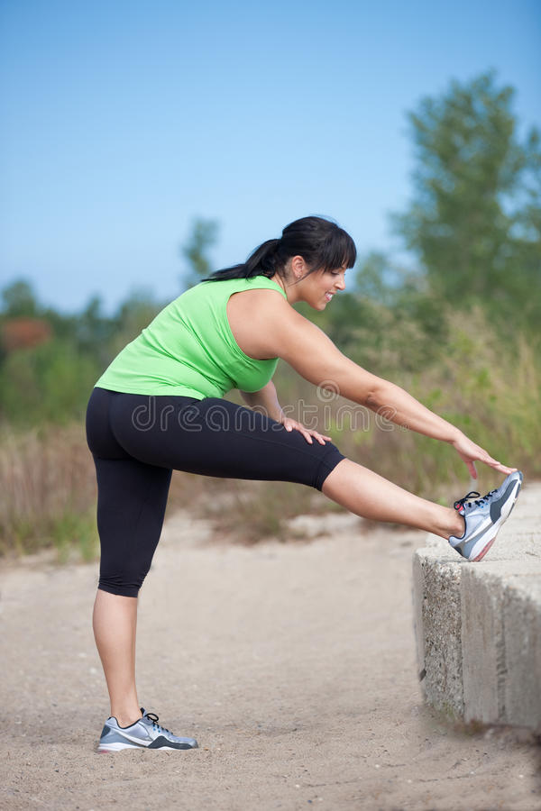 Plus Size Female Exercise Outdoor Stock Photography