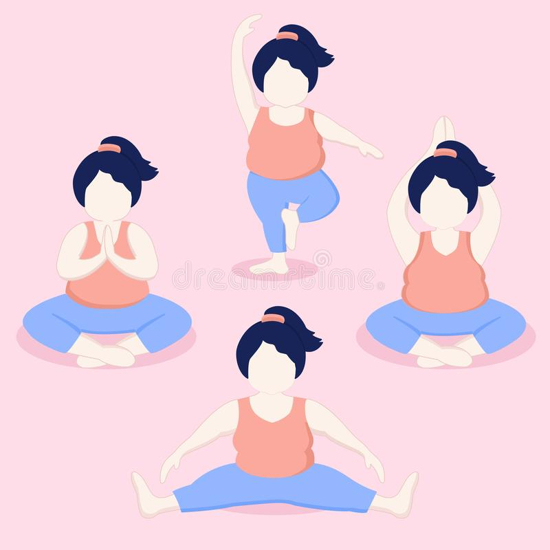 Plus Size Girl Doing Yoga Vector Cartoon illustration stock