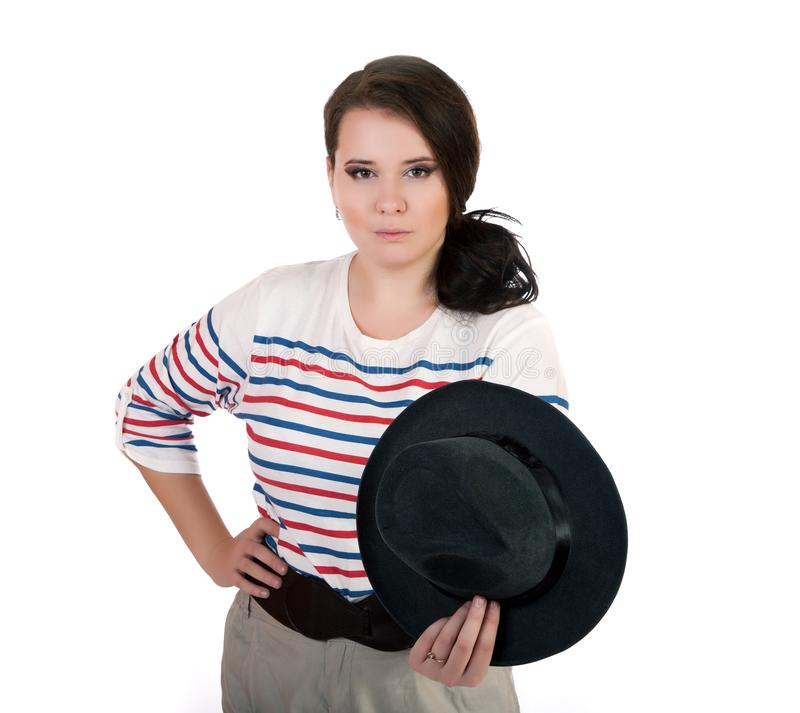 Plus size girl with hat isolated on white. Background stock photography