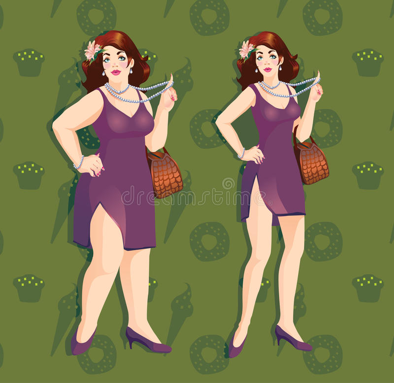 Plus size model. Beautiful, successful fat woman in a beautiful dress, and beside it after weight loss royalty free illustration