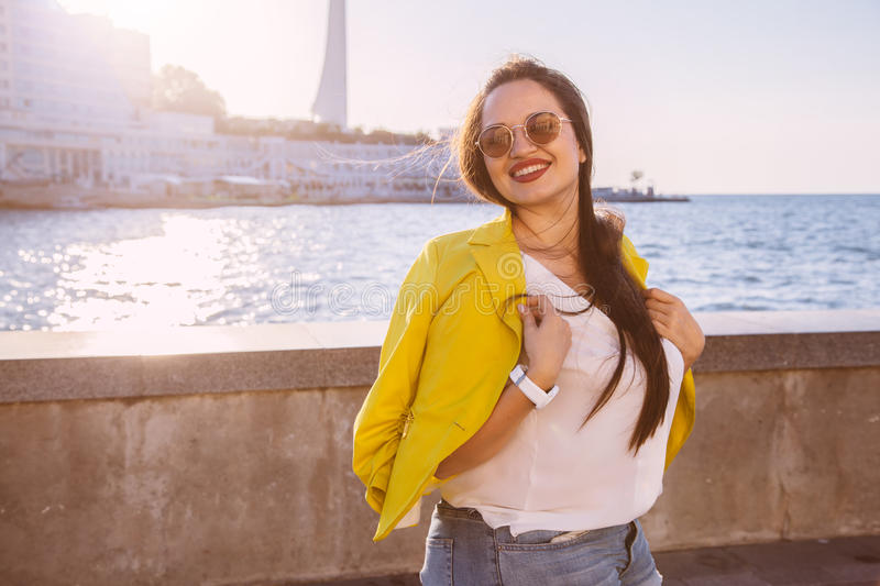Plus size model in bright fall outfit royalty free stock images
