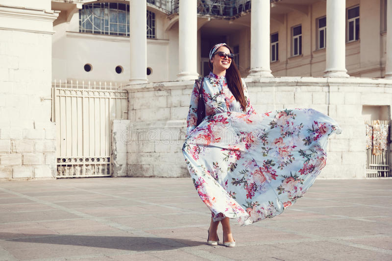 Plus size model in floral dress royalty free stock image