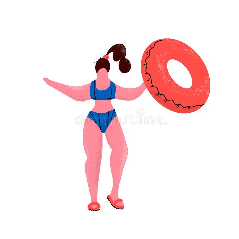 Plus size woman with rubber ring. Girl in bikini with inflatable circle in swimming pool. Positive woman in swimming suit and flip vector illustration