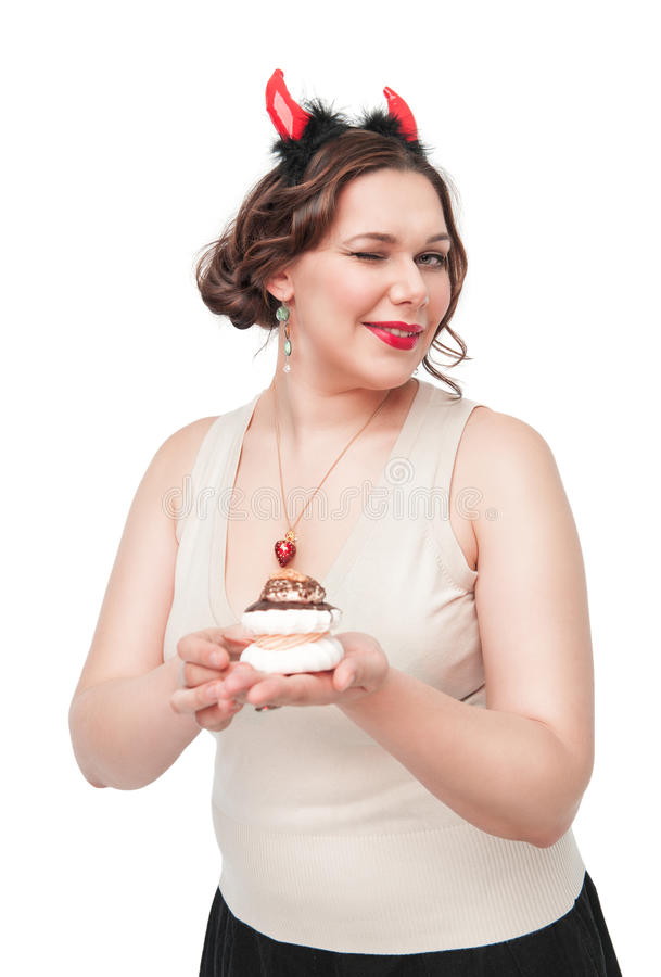 Free Plus Size Woman Winking And Seducing With Pastry Royalty Free Stock Photography - 37443897