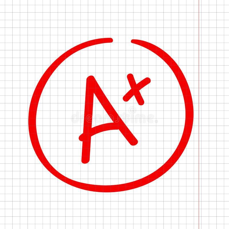 A plus stopień ocena Najlepszy rezultata znak Znakomity robić royalty ilustracja
