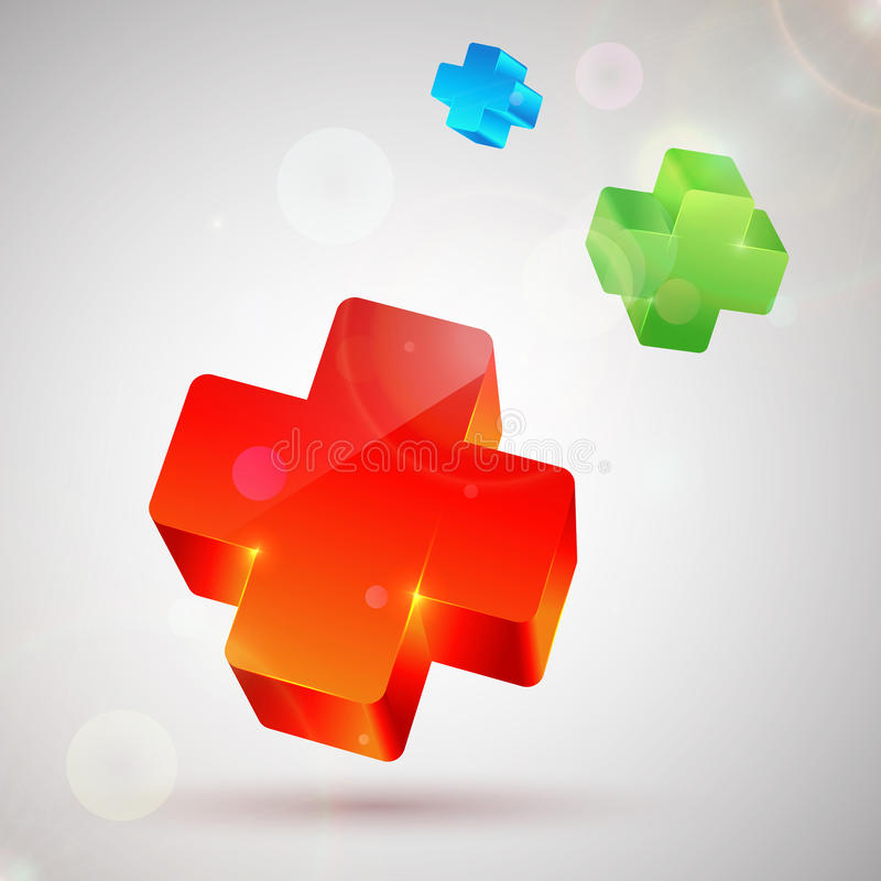 Plus symbol. Abstract colorful background vector illustration