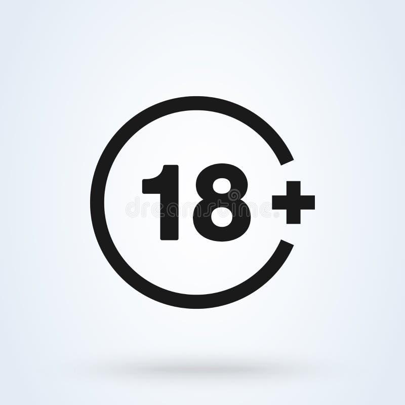 18 plus symbolen i moderiktig plan stil som isoleras på bakgrund vektor 18 plus vektor illustrationer