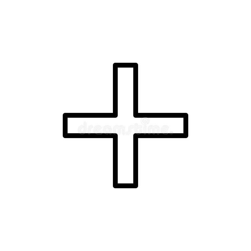 Plus szyldowa ikona Może używać dla sieci, logo, mobilny app, UI, UX ilustracja wektor