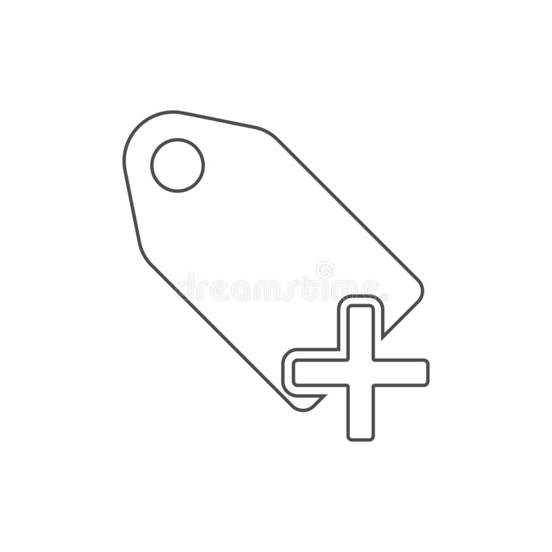 Plus tag icon. Element of web for mobile concept and web apps icon. Thin line icon for website design and development, app. Development on white background vector illustration