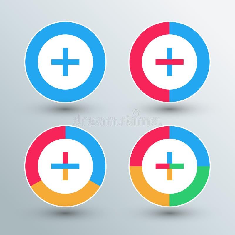 Plus teckensymboler Plus teckenknappar (Redigerbar tillgänglig vektoreps-mapp royaltyfri illustrationer