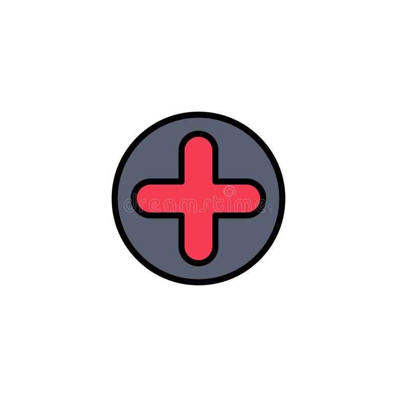 Plus, Teken, het Ziekenhuis, Medische Zaken Logo Template vlakke kleur stock illustratie