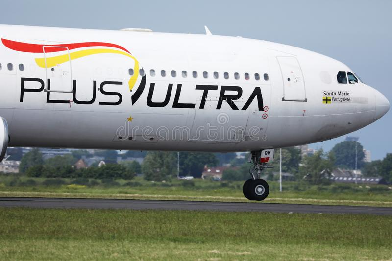 Plus Ultra LàÂneas Aéreas, Airlines, close-up view. Plus Ultra airlines plane, doing taxi on taxiway royalty free stock images