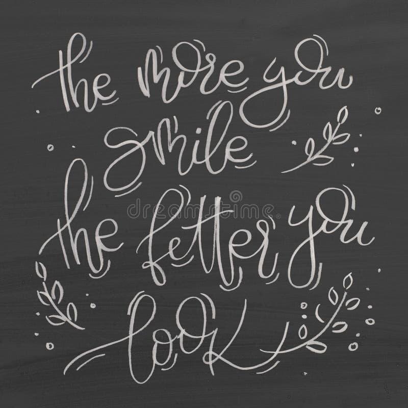 Plus vous souriez le meilleur vous regard Texte sur le tableau illustration de vecteur