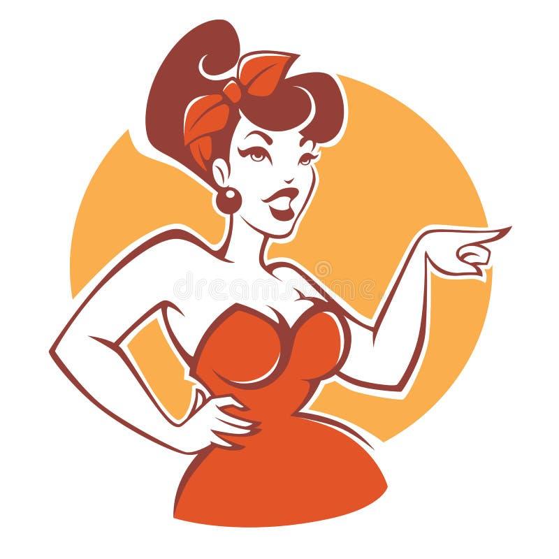 Plus wielkościowa pinup dziewczyna w czerwieni sukni na beżowym tle royalty ilustracja