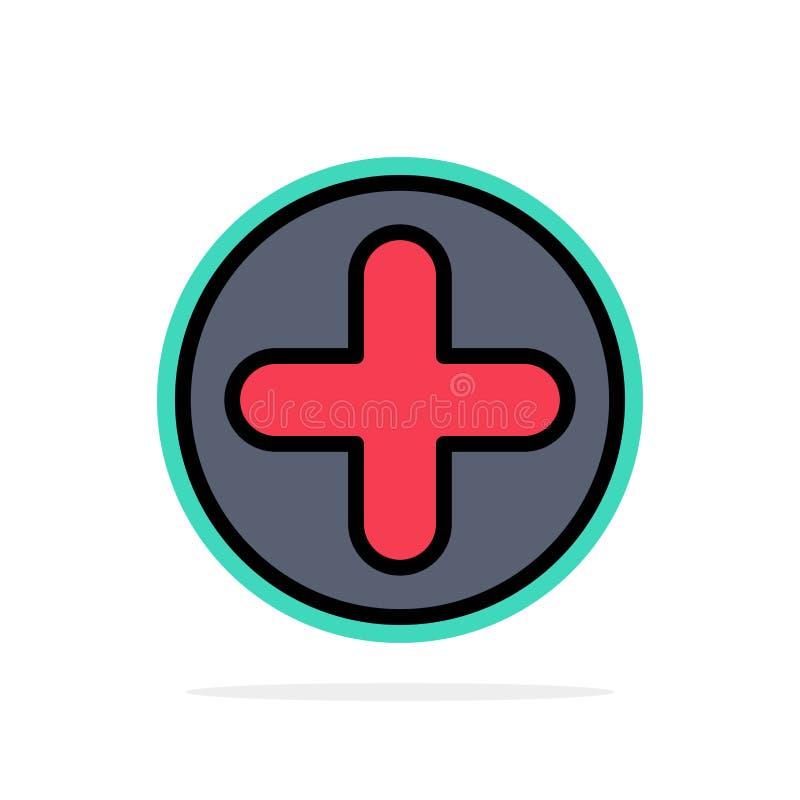 Plus, znak, szpital, Medycznego Abstrakcjonistycznego okręgu tła koloru Płaska ikona ilustracji