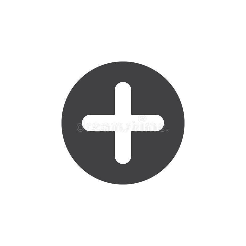 Plusen tillfogar den plana symbolen Arg rund enkel knapp, runt vektortecken stock illustrationer