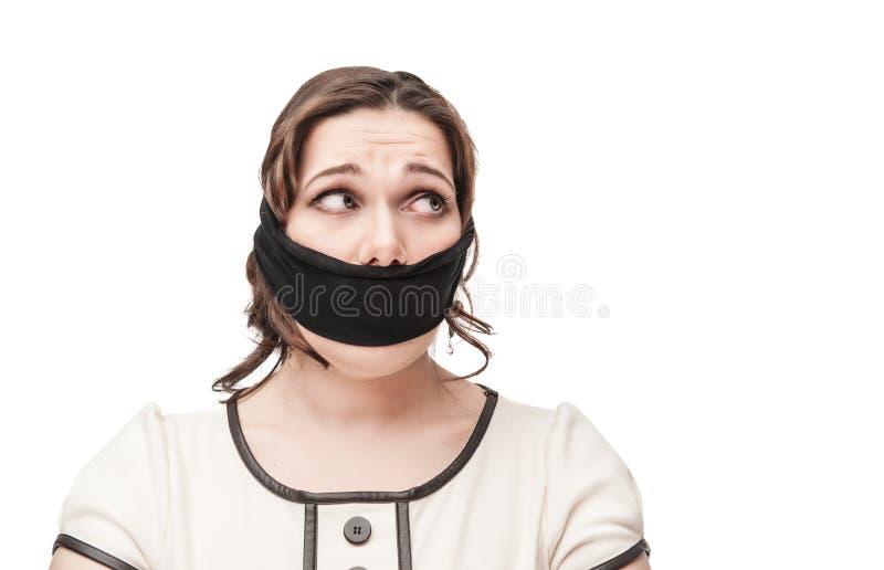 Plusgrößenfrau gewürgt lizenzfreies stockbild