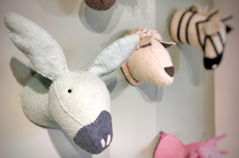 Plush animal heads. Decorating a children's room royalty free stock images