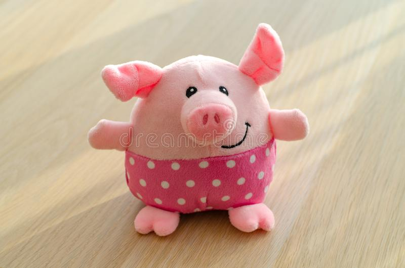 Plush pink fun toy pig stock image