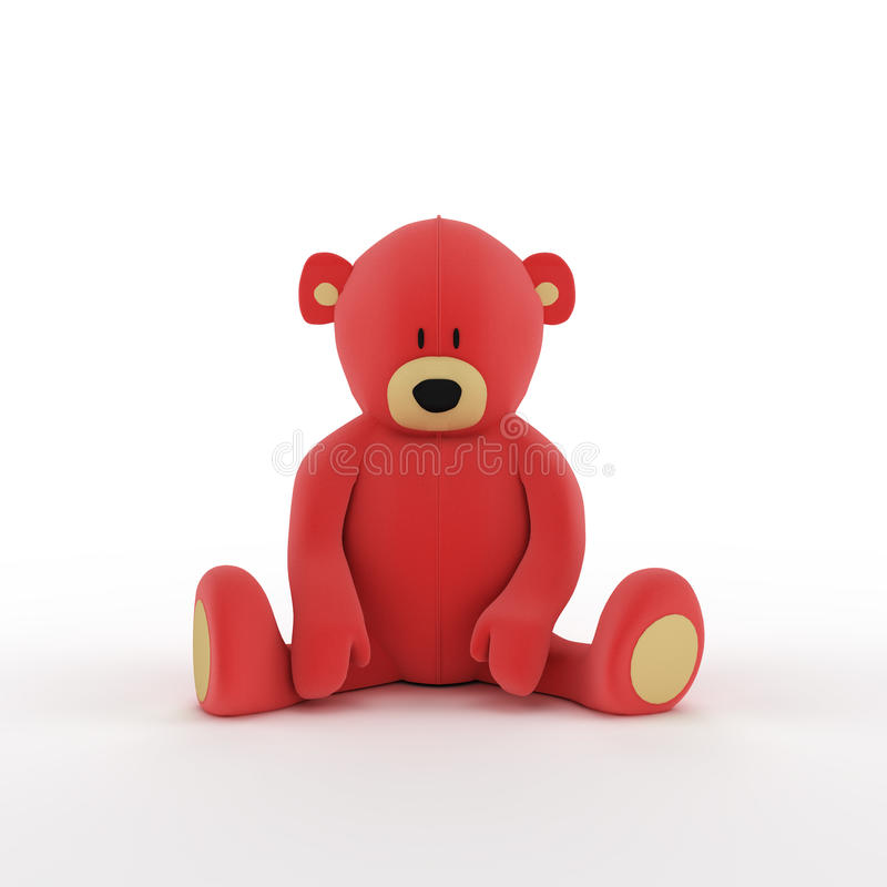 Plush red teddy bear. Isolated on white background vector illustration