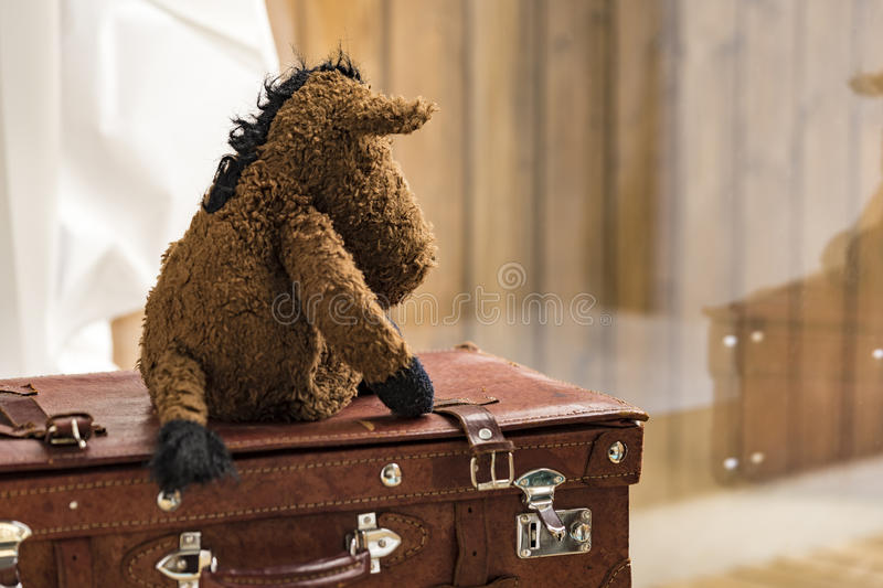 Plush toy on suitcase in window with reflection. Rear view on plush toy seated and looking over on suitcase in window with reflection royalty free stock photography
