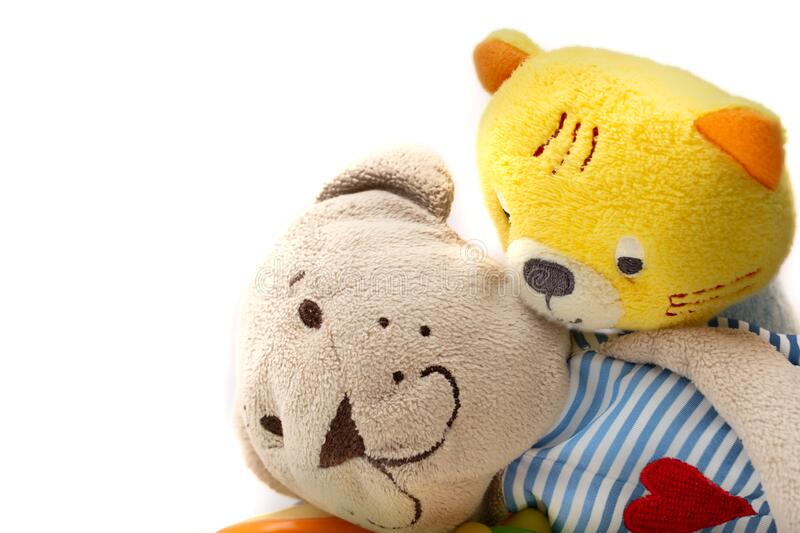 Plush toys about friendship and intimacy with white background.  stock photos