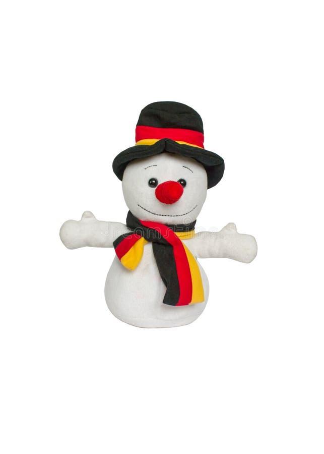 Plushed在白色背景隔绝的玩具雪人 库存图片