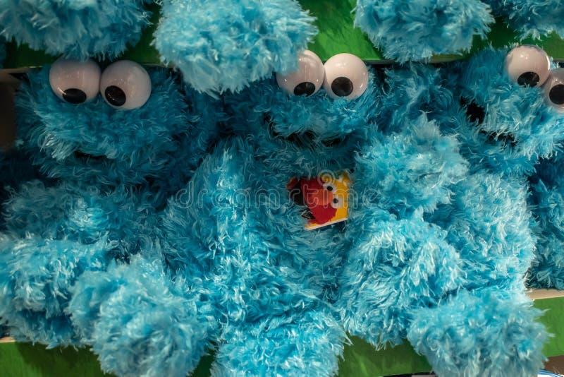 Plushies de monstre de biscuit chez Seaworld dans la commande internationale photo stock